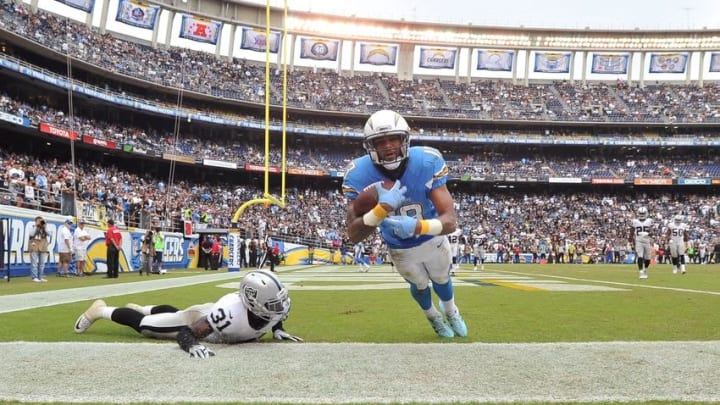 Oct 25, 2015; San Diego, CA, USA; San Diego Chargers wide receiver Keenan Allen (13) catches a pass in the end zone which was negated by a penalty during the second half of the game against the Oakland Raiders at Qualcomm Stadium. Oakland won 37-29. Mandatory Credit: Orlando Ramirez-USA TODAY Sports