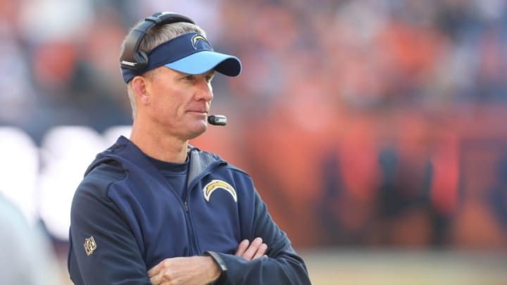 Jan 3, 2016; Denver, CO, USA; San Diego Chargers head coach Mike McCoy on his sidelines in the third quarter against the Denver Broncos at Sports Authority Field at Mile High. Mandatory Credit: Ron Chenoy-USA TODAY Sports