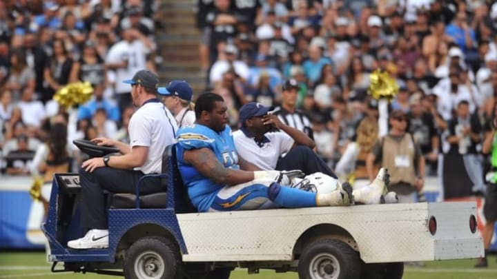 Oct 25, 2015; San Diego, CA, USA; San Diego Chargers offensive guard Orlando Franklin (74) is carted off the field with an injury during the second half of the game against the Oakland Raiders at Qualcomm Stadium. Oakland won 37-29. Mandatory Credit: Orlando Ramirez-USA TODAY Sports