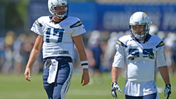 Aug 5, 2015; San Diego, CA, USA; San Diego Chargers quarterback Philip Rivers (17) looks at running back Danny Woodhead (39) during minicamp at Chargers Park. Mandatory Credit: Jake Roth-USA TODAY Sports