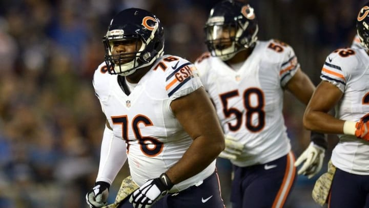 Nov 9, 2015; San Diego, CA, USA; Chicago Bears nose tackle Bruce Gaston (76) and outside linebacker Jonathan Anderson (58) come off the field during the second quarter against the San Diego Chargers at Qualcomm Stadium. Mandatory Credit: Jake Roth-USA TODAY Sports