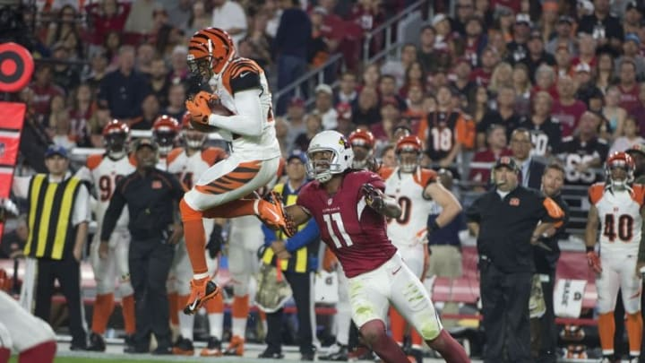November 22, 2015; Glendale, AZ, USA; Cincinnati Bengals strong safety Leon Hall (29) intercepts the football intended for Arizona Cardinals wide receiver Larry Fitzgerald (11) during the first quarter at University of Phoenix Stadium. Mandatory Credit: Kyle Terada-USA TODAY Sports