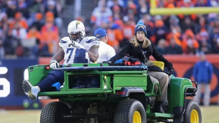 Jan 3, 2016; Denver, CO, USA; San Diego Chargers tackle Tyreek Burwell (78) is carted off the field after being injured during the second half against the Denver Broncos at Sports Authority Field at Mile High. The Broncos won 27-20. Mandatory Credit: Chris Humphreys-USA TODAY Sports