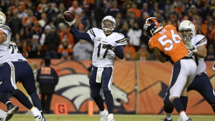 Jan 3, 2016; Denver, CO, USA; San Diego Chargers quarterback Philip Rivers (17) during the first half against the Denver Broncos at Sports Authority Field at Mile High. Mandatory Credit: Chris Humphreys-USA TODAY Sports