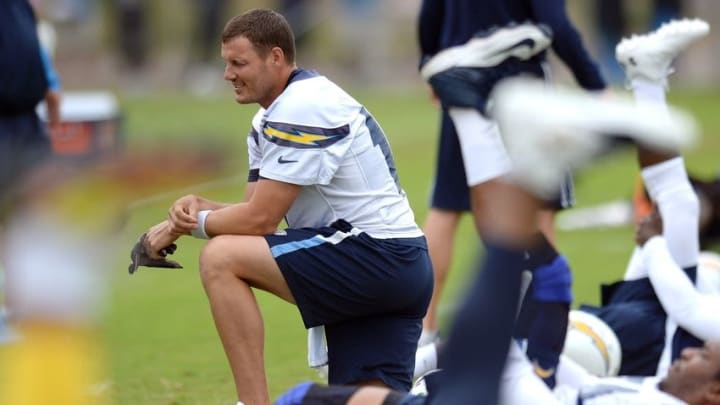 Jun 14, 2016; San Diego, CA, USA; San Diego Chargers quarterback Philip Rivers (17) looks on during minicamp at Charger Park. Mandatory Credit: Jake Roth-USA TODAY Sports