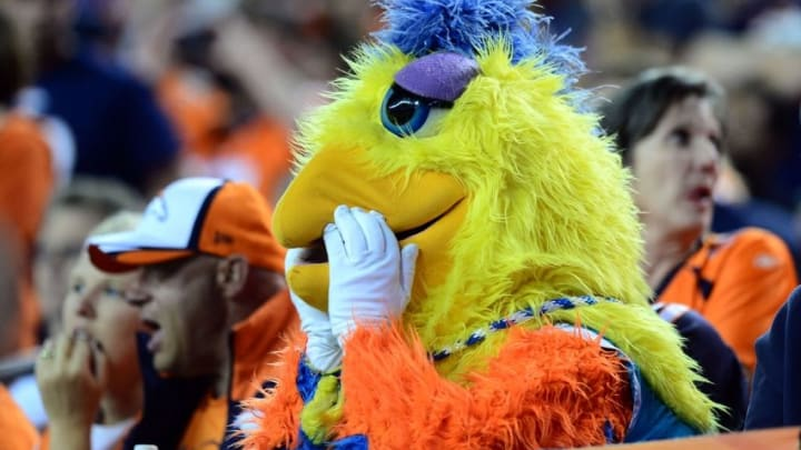 Oct 23, 2014; Denver, CO, USA; San Diego Chargers fan wearing the San Diego Chicken suit reacts following a score in the fourth quarter against the San Diego Chargers at Sports Authority Field at Mile High. The Broncos defeated the Chargers 35-21. Mandatory Credit: Ron Chenoy-USA TODAY Sports