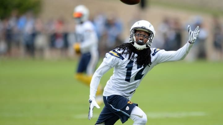 Jun 14, 2016; San Diego, CA, USA; San Diego Chargers wide receiver Travis Benjamin (12) stretches during minicamp at Charger Park. Mandatory Credit: Jake Roth-USA TODAY Sports