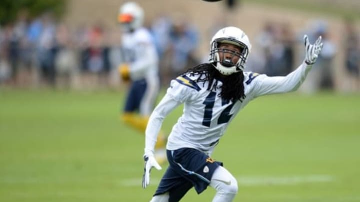 Jun 14, 2016; San Diego, CA, USA; San Diego Chargers wide receiver Travis Benjamin (12) tries to catch a pass during minicamp at Charger Park. Mandatory Credit: Jake Roth-USA TODAY Sports