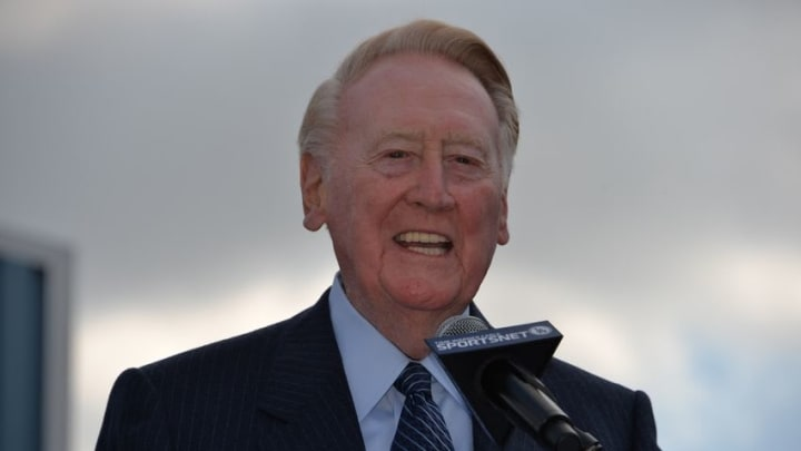 Apr 11, 2016; Los Angeles, CA, USA: Los Angeles Dodgers broadcaster Vin Scully during ceremony at Dodger Stadium to rename Elysian Park Avenue to Vin Scully Avenue in honor of Scully, who is retiring after 67 years after the 2016 season. Mandatory Credit: Kirby Lee-USA TODAY Sports