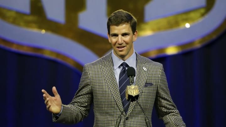 Feb 5, 2016; San Francisco, CA, USA; New York Giants quarterback Eli Manning during the Walter Payton man of the year press conference at Moscone Center in advance of Super Bowl 50 between the Carolina Panthers and the Denver Broncos. Mandatory Credit: Matthew Emmons-USA TODAY Sports