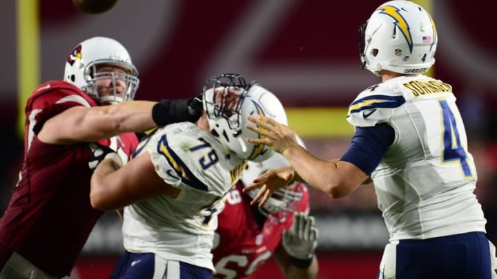 Aug 22, 2015; Glendale, AZ, USA; San Diego Chargers quarterback Brad Sorensen (4) throws a pass against the Arizona Cardinals during the second half at University of Phoenix Stadium. The Chargers won 22-19. Mandatory Credit: Joe Camporeale-USA TODAY Sports