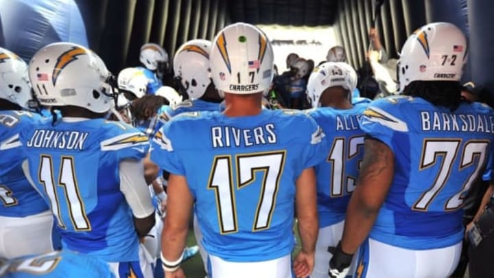 Oct 25, 2015; San Diego, CA, USA; San Diego Chargers wide receiver Steve Johnson (11) and quarterback Philip Rivers (17) and tackle Joe Barksdale (72) and wide receiver Keenan Allen (13) await in the tunnel during player introductions before the game against the Oakland Raiders at Qualcomm Stadium. Mandatory Credit: Orlando Ramirez-USA TODAY Sports