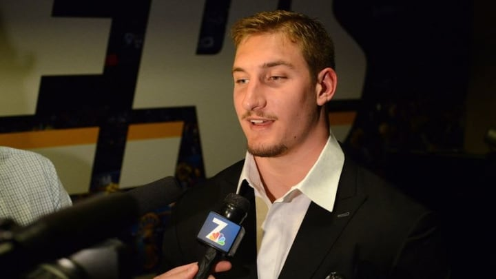 Apr 29, 2016; San Diego, CA, USA; San Diego Chargers first round draft pick Joey Bosa speaks to media during a press conference at Chargers Park. Mandatory Credit: Jake Roth-USA TODAY Sports