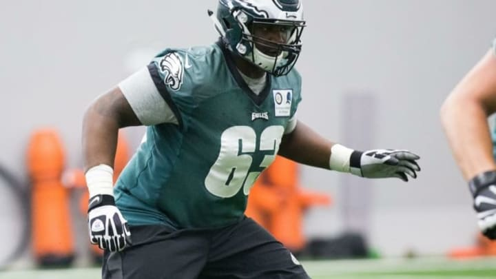 May 13, 2016; Philadelphia, PA, USA; Philadelphia Eagles center Bruce Johnson (63) runs drills during rookie minicamp at the NovaCare Complex. Mandatory Credit: Bill Streicher-USA TODAY Sports