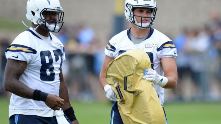 Jun 14, 2016; San Diego, CA, USA; San Diego Chargers tight end Hunter Henry (R) and tight end Jeff Cumberland (L) look on during minicamp at Charger Park. Mandatory Credit: Jake Roth-USA TODAY Sports