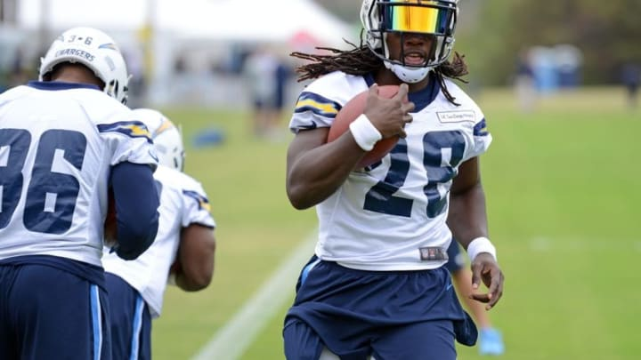 Jun 14, 2016; San Diego, CA, USA; San Diego Chargers running back Melvin Gordon (28) participates in a drill during minicamp at Charger Park. Mandatory Credit: Jake Roth-USA TODAY Sports