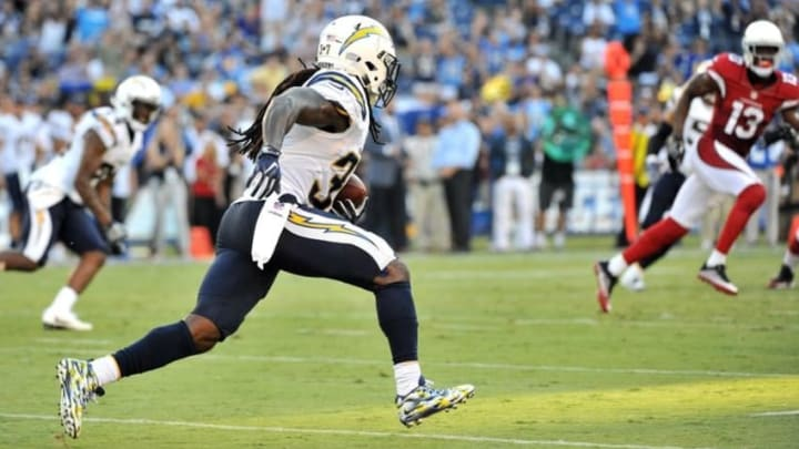 Aug 19, 2016; San Diego, CA, USA; San Diego Chargers strong safety Jahleel Addae (37) returns an interception thrown by Arizona Cardinals quarterback Drew Stanton (not pictured) during the first quarter at Qualcomm Stadium. Mandatory Credit: Orlando Ramirez-USA TODAY Sports