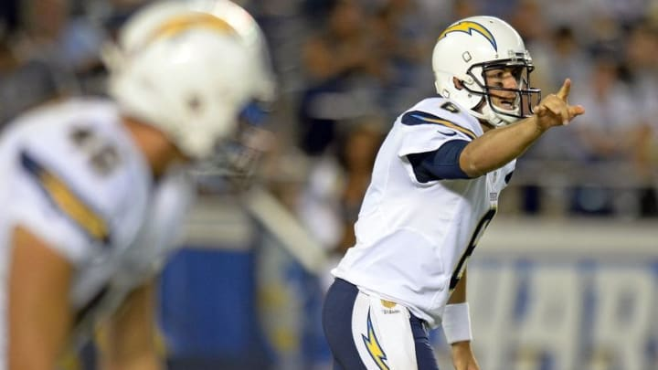Aug 19, 2016; San Diego, CA, USA; San Diego Chargers quarterback Mike Bercovici (6) yells his cadence before the snap during the fourth quarter against the Arizona Cardinals at Qualcomm Stadium. Mandatory Credit: Jake Roth-USA TODAY Sports
