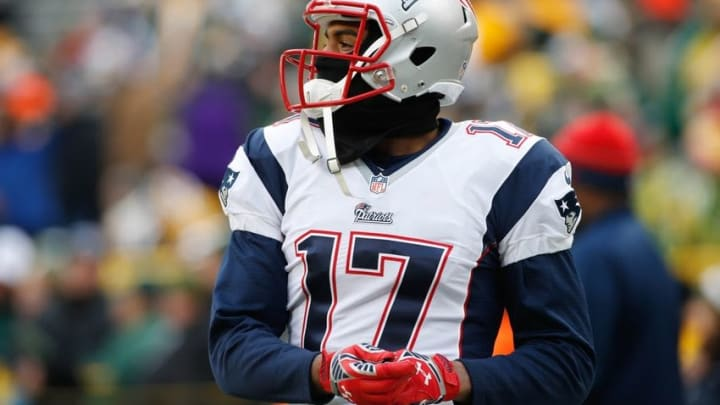 Nov 30, 2014; Green Bay, WI, USA; New England Patriots wide receiver Aaron Dobson (17) before the game against the Green Bay Packers at Lambeau Field. Mandatory Credit: Chris Humphreys-USA TODAY Sports