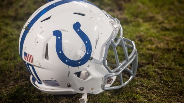 Nov 2, 2015; Charlotte, NC, USA; A Indianapolis Colts helmet lays on the field after the game against the Carolina Panthers at Bank of America Stadium. Carolina defeated Indianapolis 29-26 in overtime. Mandatory Credit: Jeremy Brevard-USA TODAY Sports