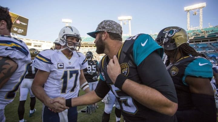 Nov 29, 2015; Jacksonville, FL, USA; San Diego Chargers quarterback Philip Rivers (17) shakes hands with Jacksonville Jaguars quarterback Blake Bortles (5) after a game at EverBank Field. The San Diego Chargers won 31-24. Mandatory Credit: Logan Bowles-USA TODAY Sports