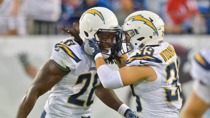 Aug 13, 2016; Nashville, TN, USA; San Diego Chargers running back Melvin Gordon (28) celebrates scoring a touchdown against the Tennessee Titans with teammate San Diego Chargers running back Danny Woodhead (39) during the first half at Nissan Stadium. Mandatory Credit: Jim Brown-USA TODAY Sports