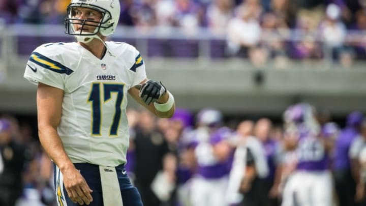Aug 28, 2016; Minneapolis, MN, USA; San Diego Chargers quarterback Philip Rivers (17) reacts after throwing an interception during the first quarter in a preseason game against the Minnesota Vikings at U.S. Bank Stadium. Mandatory Credit: Brace Hemmelgarn-USA TODAY Sports