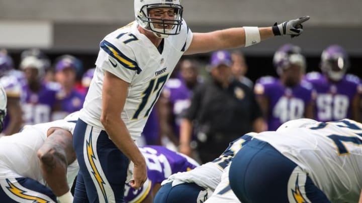 Aug 28, 2016; Minneapolis, MN, USA; San Diego Chargers quarterback Philip Rivers (17) calls a play during the first quarter in a preseason game against the Minnesota Vikings at U.S. Bank Stadium. Mandatory Credit: Brace Hemmelgarn-USA TODAY Sports