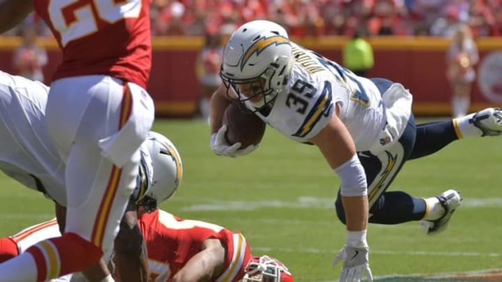 Sep 11, 2016; Kansas City, MO, USA; San Diego Chargers running back Danny Woodhead (39) runs the ball as Kansas City Chiefs defensive back Steven Nelson (20) defends during the first half at Arrowhead Stadium. Mandatory Credit: Denny Medley-USA TODAY Sports