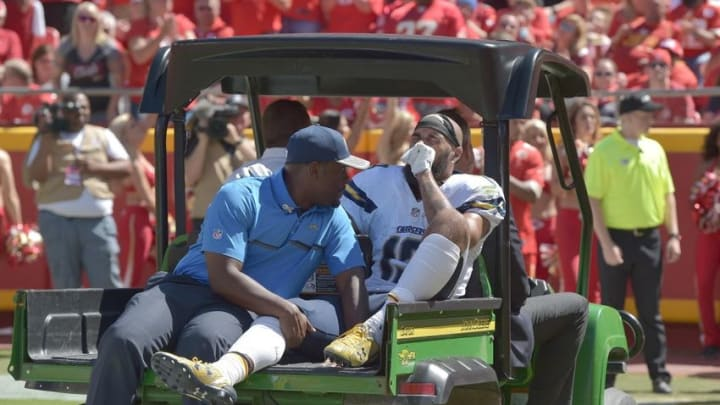 Sep 11, 2016; Kansas City, MO, USA; San Diego Chargers wide receiver Keenan Allen (13) is carted off of the field after an injury during the first half against the Kansas City Chiefs at Arrowhead Stadium. Mandatory Credit: Denny Medley-USA TODAY Sports