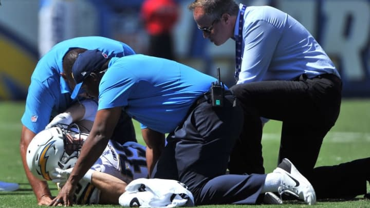 Sep 18, 2016; San Diego, CA, USA; San Diego Chargers running back Danny Woodhead (39) lays on the ground with an injury during the first quarter of the game against the Jacksonville Jaguars at Qualcomm Stadium. Mandatory Credit: Orlando Ramirez-USA TODAY Sports