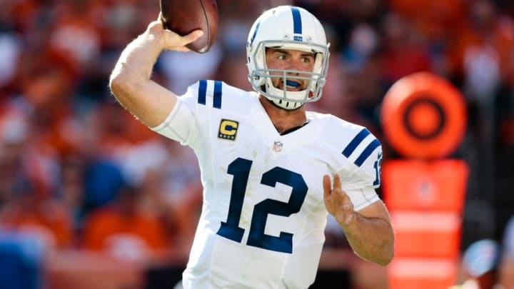 Sep 18, 2016; Denver, CO, USA; Indianapolis Colts quarterback Andrew Luck (12) looks to pass in the third quarter against the Denver Broncos at Sports Authority Field at Mile High. Mandatory Credit: Isaiah J. Downing-USA TODAY Sports