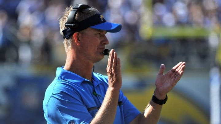 Sep 18, 2016; San Diego, CA, USA; San Diego Chargers head coach Mike McCoy reacts after a score during the second half of the game against the Jacksonville Jaguars at Qualcomm Stadium. San Diego won 38-14. Mandatory Credit: Orlando Ramirez-USA TODAY Sports