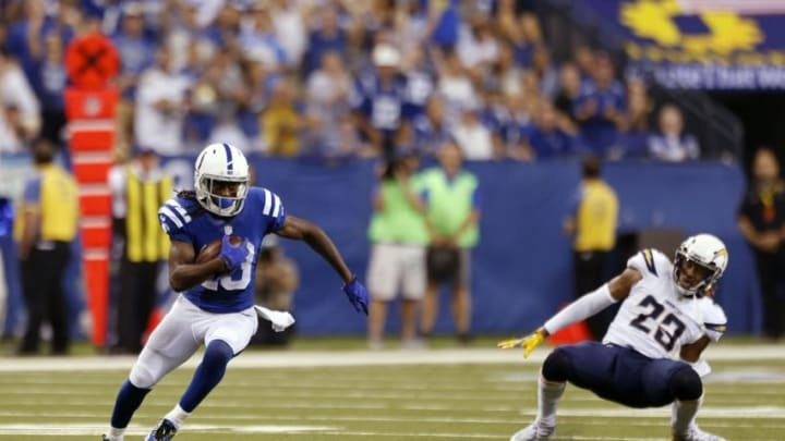 Sep 25, 2016; Indianapolis, IN, USA; Indianapolis Colts wide receiver T.Y. Hilton (13) catches a pass and scores the winning touchdown late in the 4th quarter against the San Diego Chargers at Lucas Oil Stadium. Indianapolis defeats San Diego 26-22. Mandatory Credit: Brian Spurlock-USA TODAY Sports