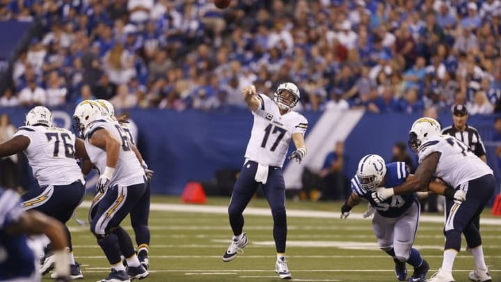 Sep 25, 2016; Indianapolis, IN, USA; San Diego Chargers quarterback Philip Rivers (17) throws a pass against the Indianapolis Colts at Lucas Oil Stadium. Indianapolis defeats San Diego 26-22. Mandatory Credit: Brian Spurlock-USA TODAY Sports