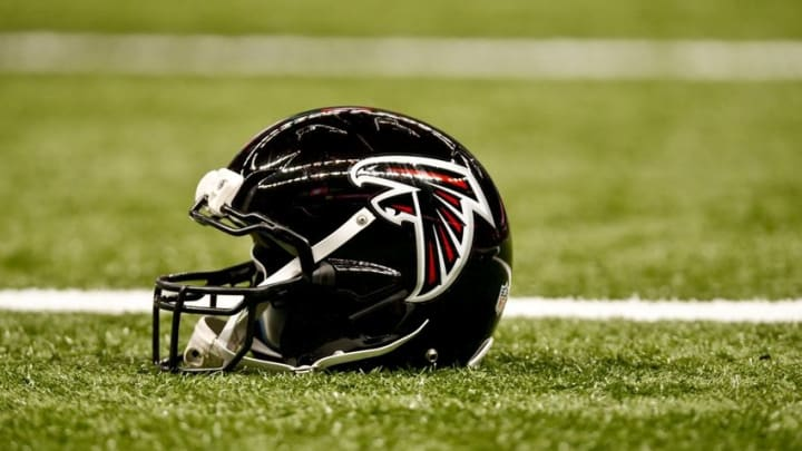 Dec 21, 2014; New Orleans, LA, USA; A Atlanta Falcons helmet rest on the field prior to the game against the New Orleans Saints at the Mercedes-Benz Superdome. Mandatory Credit: Derick E. Hingle-USA TODAY Sports