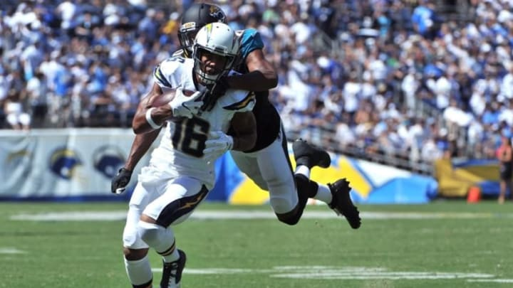 Sep 18, 2016; San Diego, CA, USA; San Diego Chargers wide receiver Tyrell Williams (16) runs with the ball as he is tackled by Jacksonville Jaguars cornerback Jalen Ramsey (20) during the first quarter of the game at Qualcomm Stadium. Mandatory Credit: Orlando Ramirez-USA TODAY Sports