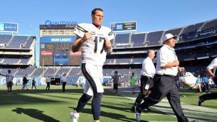Sep 18, 2016; San Diego, CA, USA; San Diego Chargers quarterback Philip Rivers (17) clenches his fist as he runs off the field following the game against the Jacksonville Jaguars at Qualcomm Stadium. San Diego won 38-14. Mandatory Credit: Orlando Ramirez-USA TODAY Sports