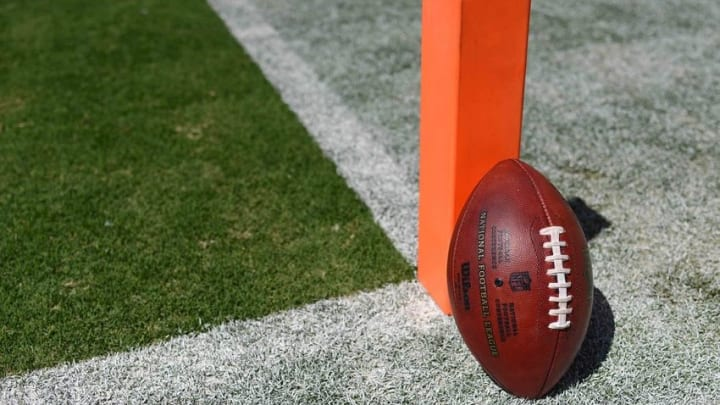 Sep 18, 2016; San Diego, CA, USA; A detailed view of a football and pylon before the game between the Jacksonville Jaguars and San Diego Chargers at Qualcomm Stadium. Mandatory Credit: Jake Roth-USA TODAY Sports