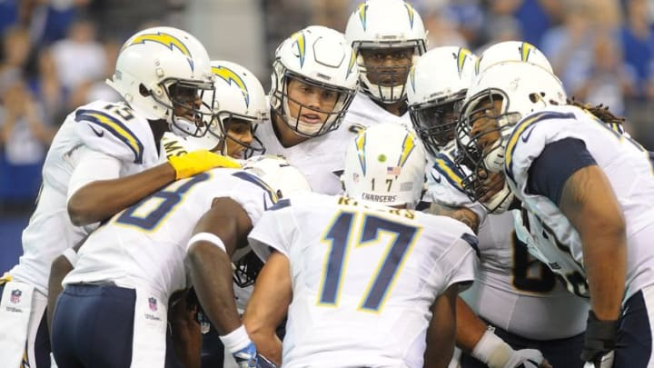 Sep 25, 2016; Indianapolis, IN, USA; San Diego Chargers offense listens for their play by quarterback Phillip Rivers (17) during their game against the Indianapolis Colts at Lucas Oil Stadium. Mandatory Credit: Thomas J. Russo-USA TODAY Sports