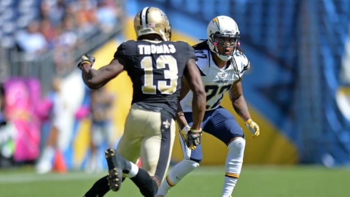 Oct 2, 2016; San Diego, CA, USA; San Diego Chargers cornerback Jason Verrett (22) defends New Orleans Saints wide receiver Michael Thomas (13) during the first quarter at Qualcomm Stadium. Mandatory Credit: Jake Roth-USA TODAY Sports