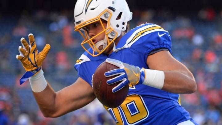 Oct 13, 2016; San Diego, CA, USA; San Diego Chargers tight end Hunter Henry (86) runs after a catch before the game against the Denver Broncos at Qualcomm Stadium. Mandatory Credit: Jake Roth-USA TODAY Sports