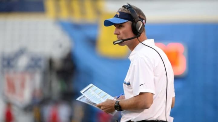 Oct 13, 2016; San Diego, CA, USA; San Diego Chargers head coach Mike McCoy looks on from the sideline during the first half of the game against the Denver Broncos at Qualcomm Stadium. Mandatory Credit: Orlando Ramirez-USA TODAY Sports