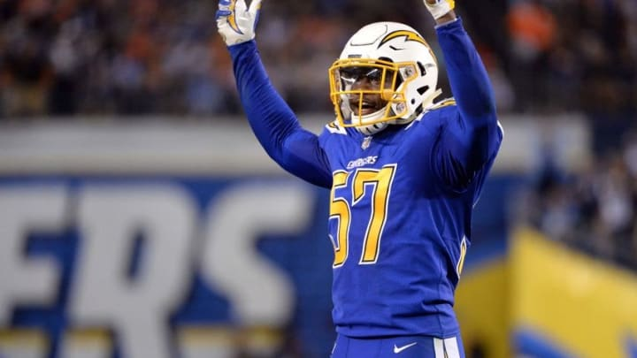 Oct 13, 2016; San Diego, CA, USA; San Diego Chargers outside linebacker Jatavis Brown (57) calls for the crowd to get loud during the second half of the game against the Denver Broncos at Qualcomm Stadium. San Diego won 21-13. Mandatory Credit: Orlando Ramirez-USA TODAY Sports