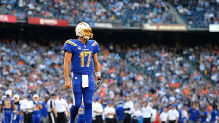 Oct 13, 2016; San Diego, CA, USA; San Diego Chargers quarterback Philip Rivers (17) walks onto the field during the first quarter against the Denver Broncos at Qualcomm Stadium. Mandatory Credit: Jake Roth-USA TODAY Sports