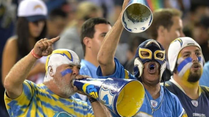 Oct 13, 2016; San Diego, CA, USA; San Diego Charger fans cheer during the fourth quarter against the Denver Broncos at Qualcomm Stadium. Mandatory Credit: Jake Roth-USA TODAY Sports