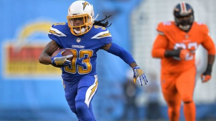 Oct 13, 2016; San Diego, CA, USA; San Diego Chargers wide receiver Dexter McCluster (33) runs the ball during the first quarter against the Denver Broncos at Qualcomm Stadium. Mandatory Credit: Jake Roth-USA TODAY Sports
