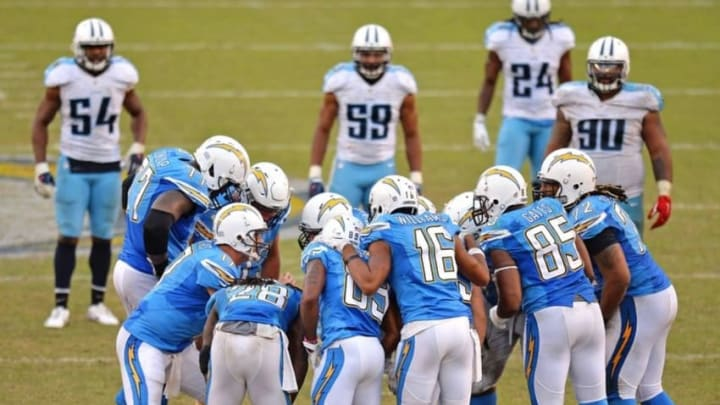 Nov 6, 2016; San Diego, CA, USA; The San Diego Chargers offense huddles during the fourth quarter against the Tennessee Titans at Qualcomm Stadium. Mandatory Credit: Jake Roth-USA TODAY Sports