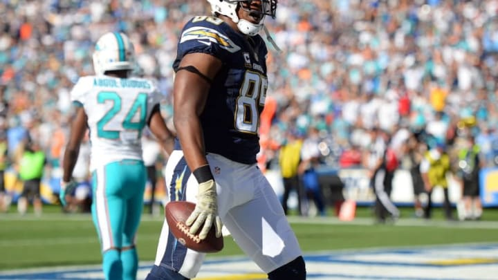 Nov 13, 2016; San Diego, CA, USA; San Diego Chargers tight end Antonio Gates (85) reacts after scoring a touchdown during the second quarter against the Miami Dolphins at Qualcomm Stadium. Mandatory Credit: Jake Roth-USA TODAY Sports