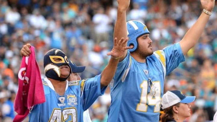 Nov 13, 2016; San Diego, CA, USA; San Diego Chargers fans react during the fourth quarter against the Miami Dolphins at Qualcomm Stadium. Mandatory Credit: Jake Roth-USA TODAY Sports